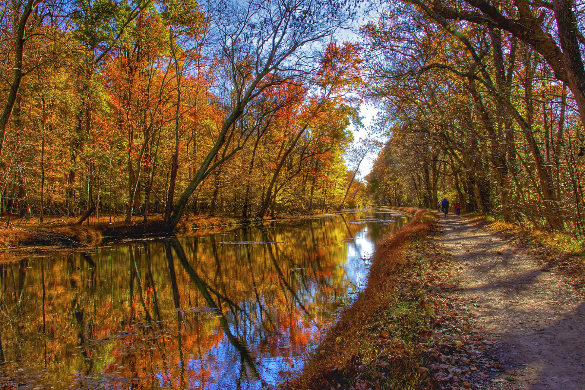 A dirt path runs by a narrow canal filled with calm water and bordered on both sides with trees showing fall colors.