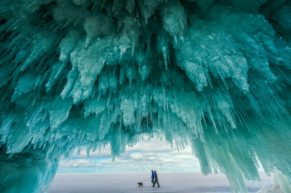 The hanging ice of the top of a ice cave, with its blueish tinge.
