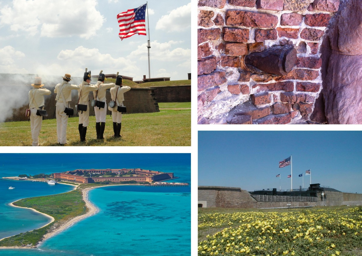 A four photo montage showing men in colonial garb presenting a living history drill at Fort McHenry, the brown brick of Fort Jefferson at Dry Tortugas National Park surrounded by blue water, a Civil War artillery shell in the walls of Fort Sumter and the exterior walls of Fort Sumter.