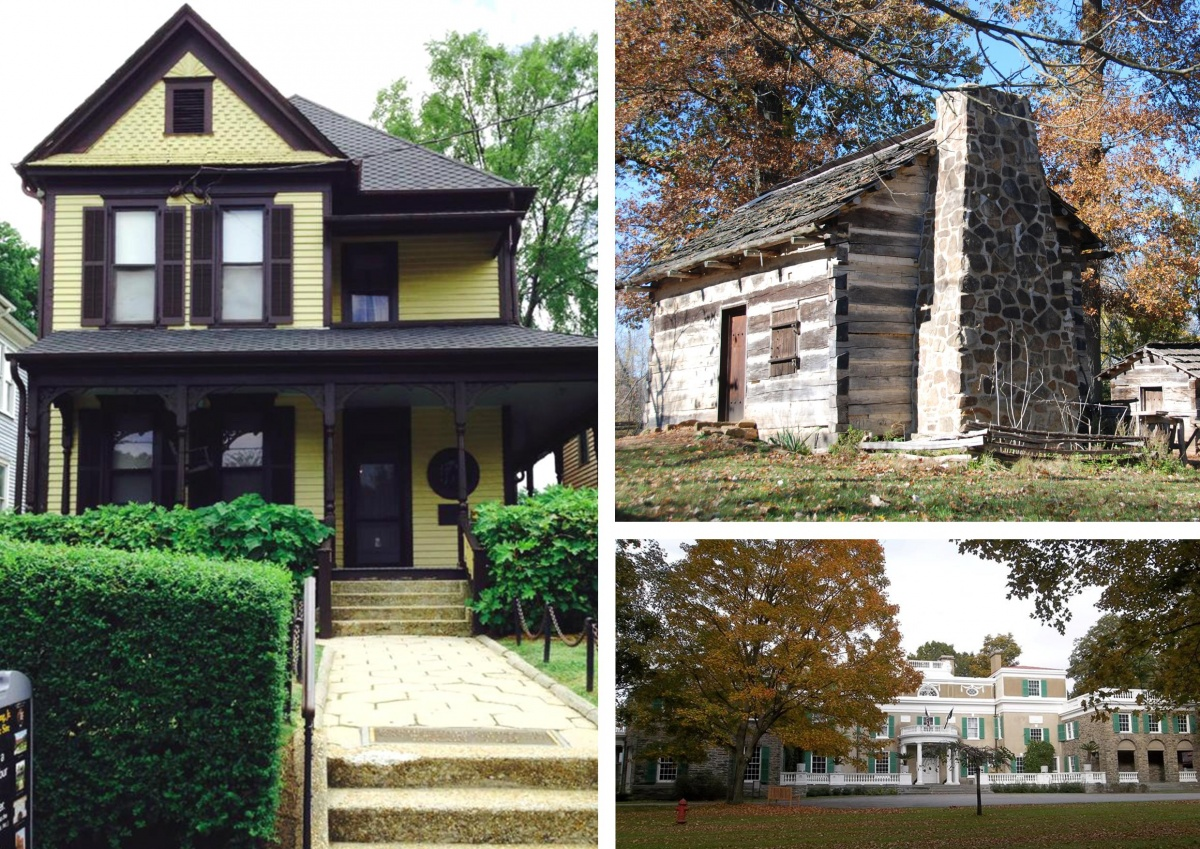 A three photo montage showing the wooden, two story home King home of Martin Luther King Jr., a recreated log cabin at Lincoln Boyhood National Memorial and a large brick mansion at Home of Franklin Delano Roosevelt National Historic Site.