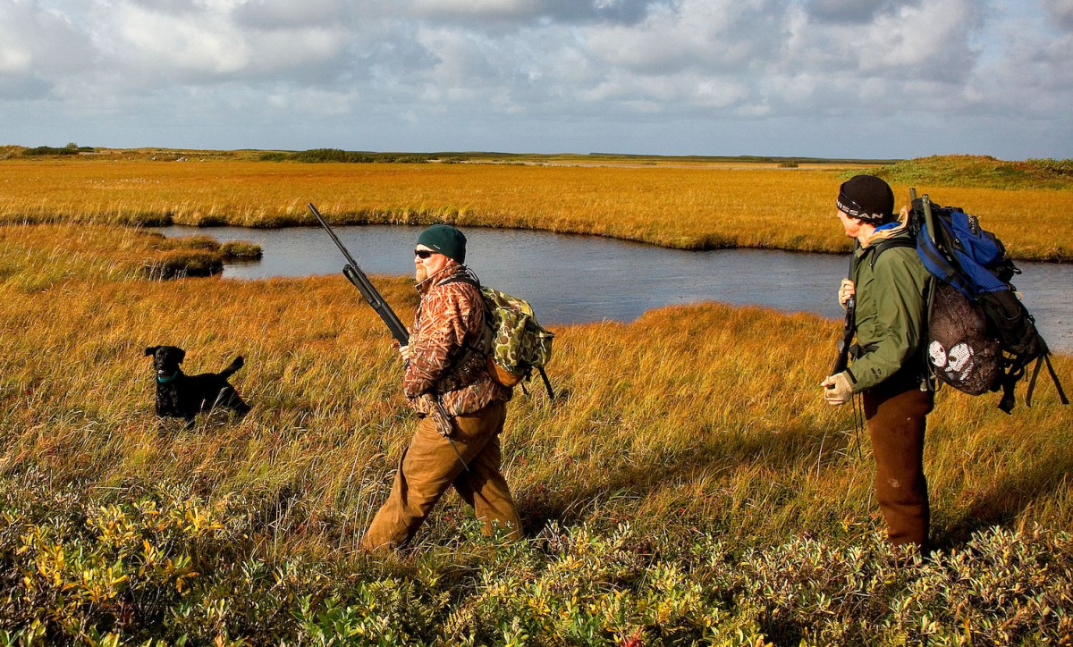 Two men wearing hunting gear and carrying shotguns walk across a grassy plain past a small pond following a dog.