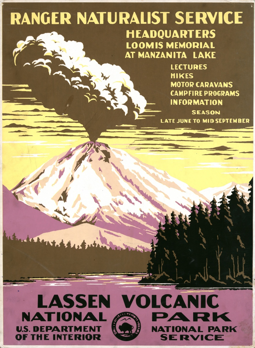 A colorful poster showing a drawing of an erupting volcano with text describing activities at Lassen Volcanic National Park.