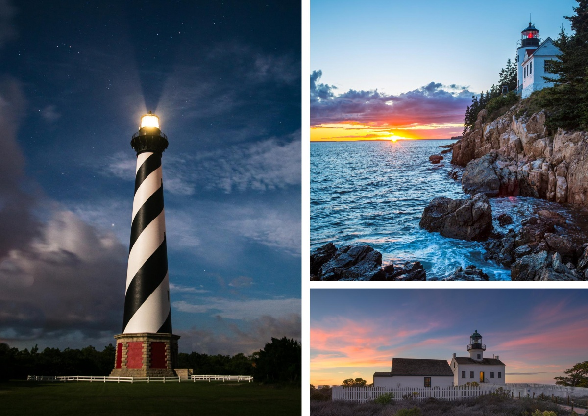 A three photo montage of different lighthouses shining their beacons against a night sky.