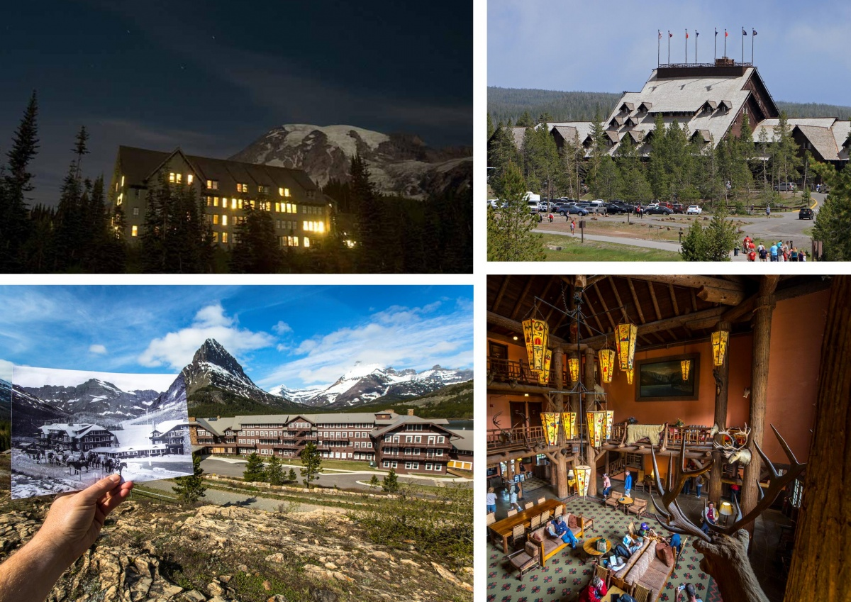 A four photo montage of Paradise Inn at Mount Rainier National Park with window shining against the night sky, a historic picture and modern day Many Glacier Hotel at Glacier National Park, the towering roof of Old Faithful Lodge at Yellowstone National Park and the ornate wood interior of Lake McDonald Lodge at Glacier National Park.