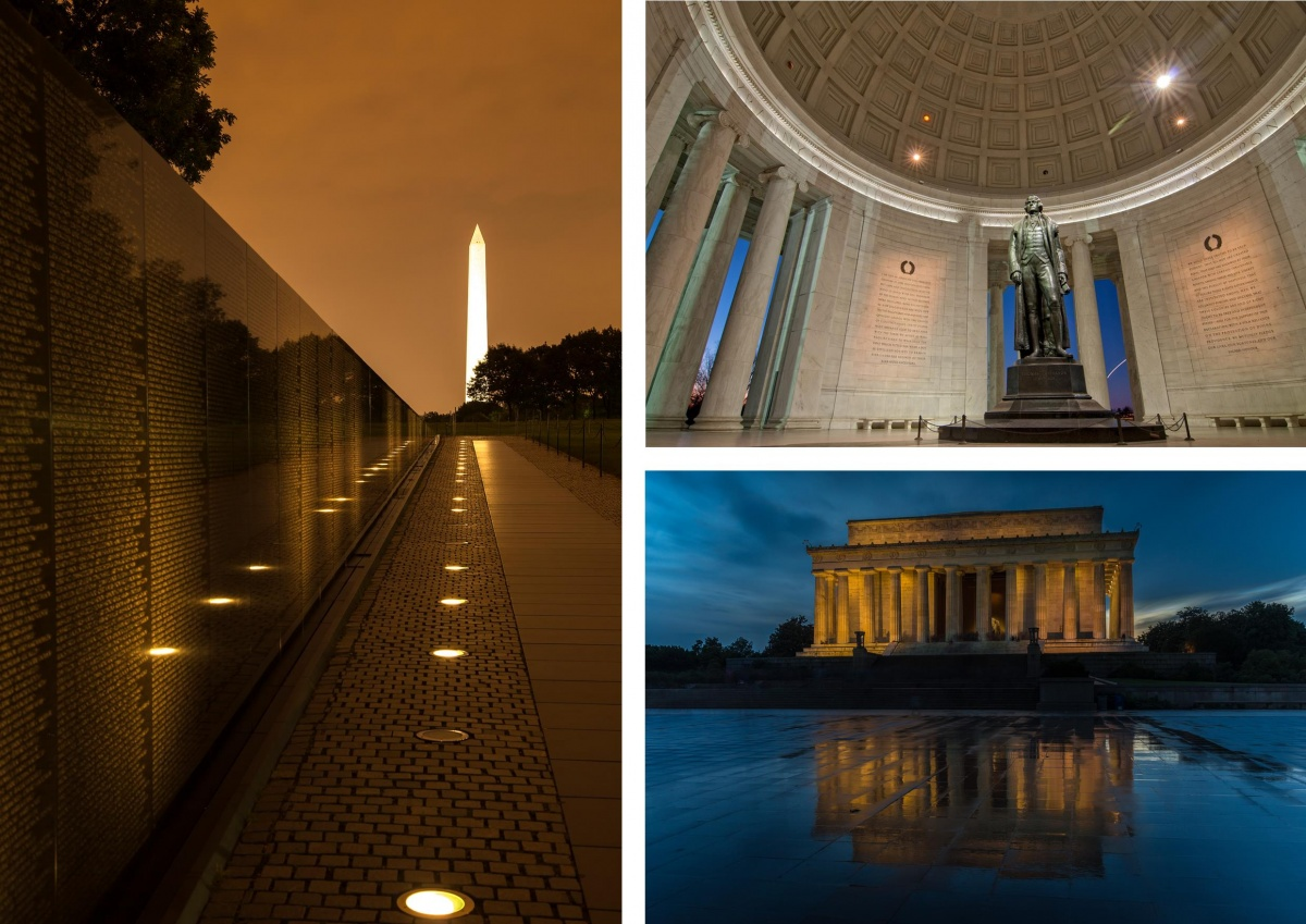A three photo montage including the black walls of the Vietnam Veterans Memorial with the towering obelisk of the Washington Monument in the distance, the interior of the Jefferson Memorial with a tall bronze statue of Thomas Jefferson, and the square Lincoln Memorial lit up at night.