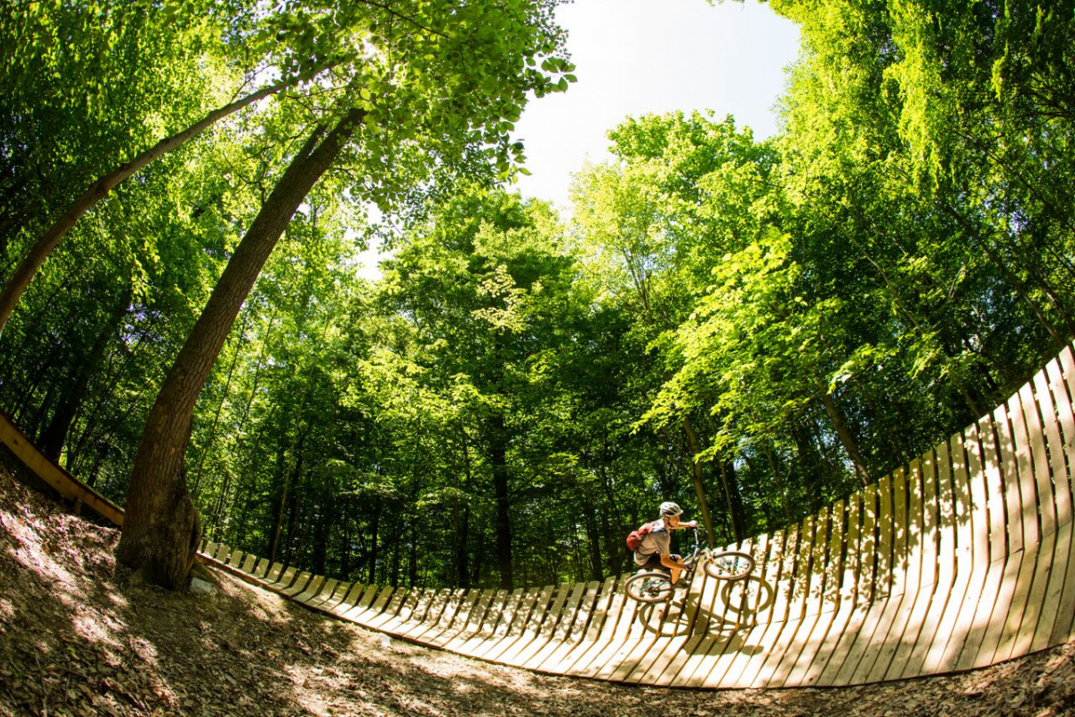 A person on a mountain bike rides down a curved wooden ramp as it runs through a forest.