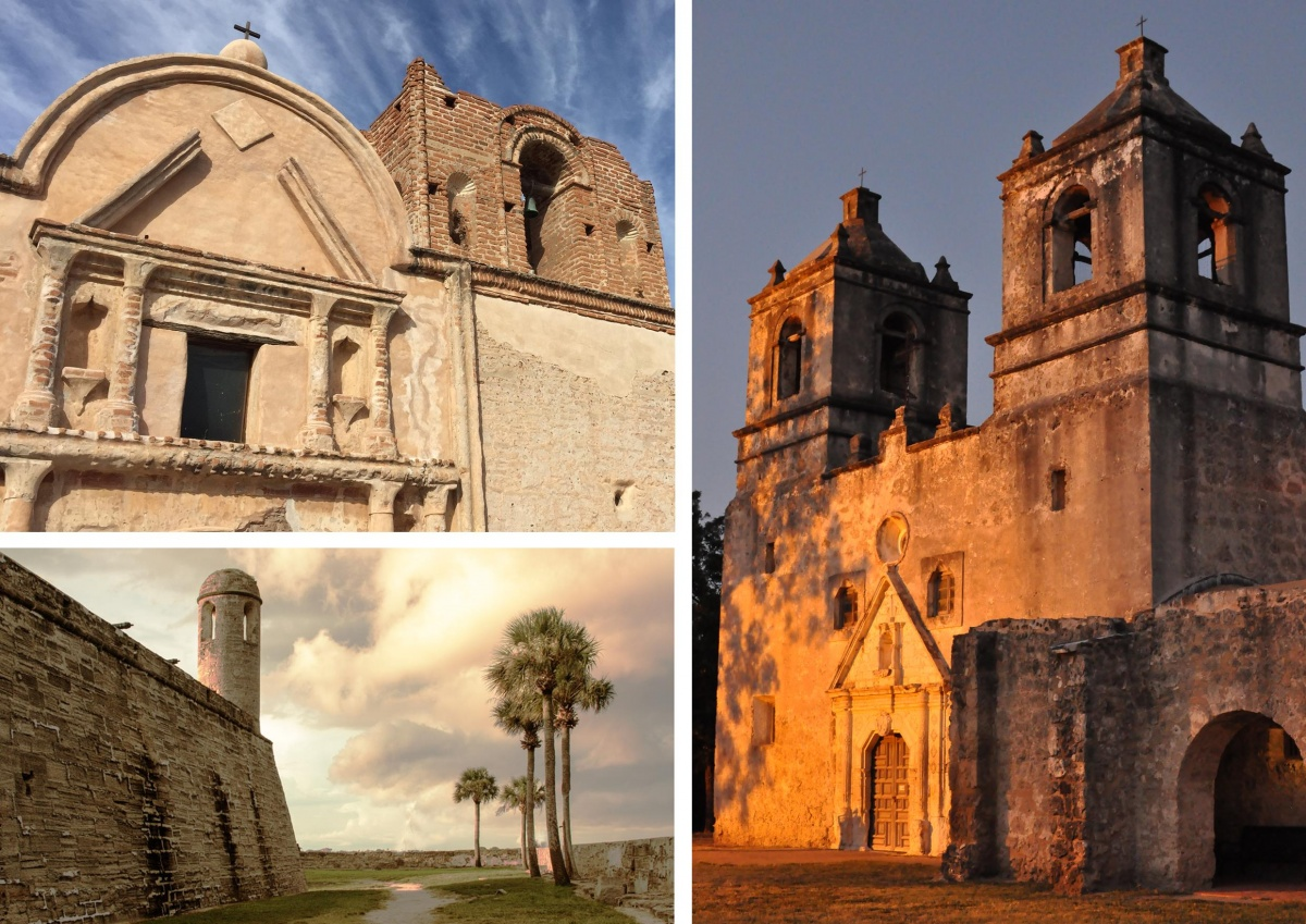 A three photo montage of spanish mission style architecture, including brick walls and ornate arches at Tumacácori National Historical Park, Castillo de San Marcos National Monument and San Antonio Missions National Historical Park.