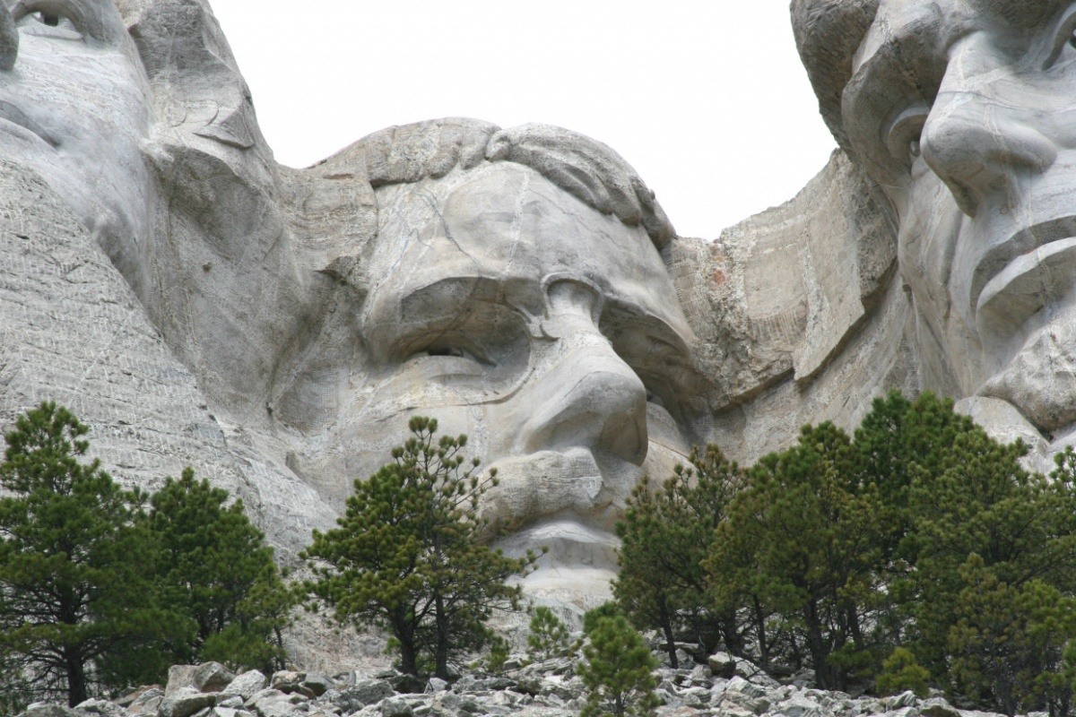 The massive face of Theodore Roosevelt is carved into the stone wall of Mount Rushmore.