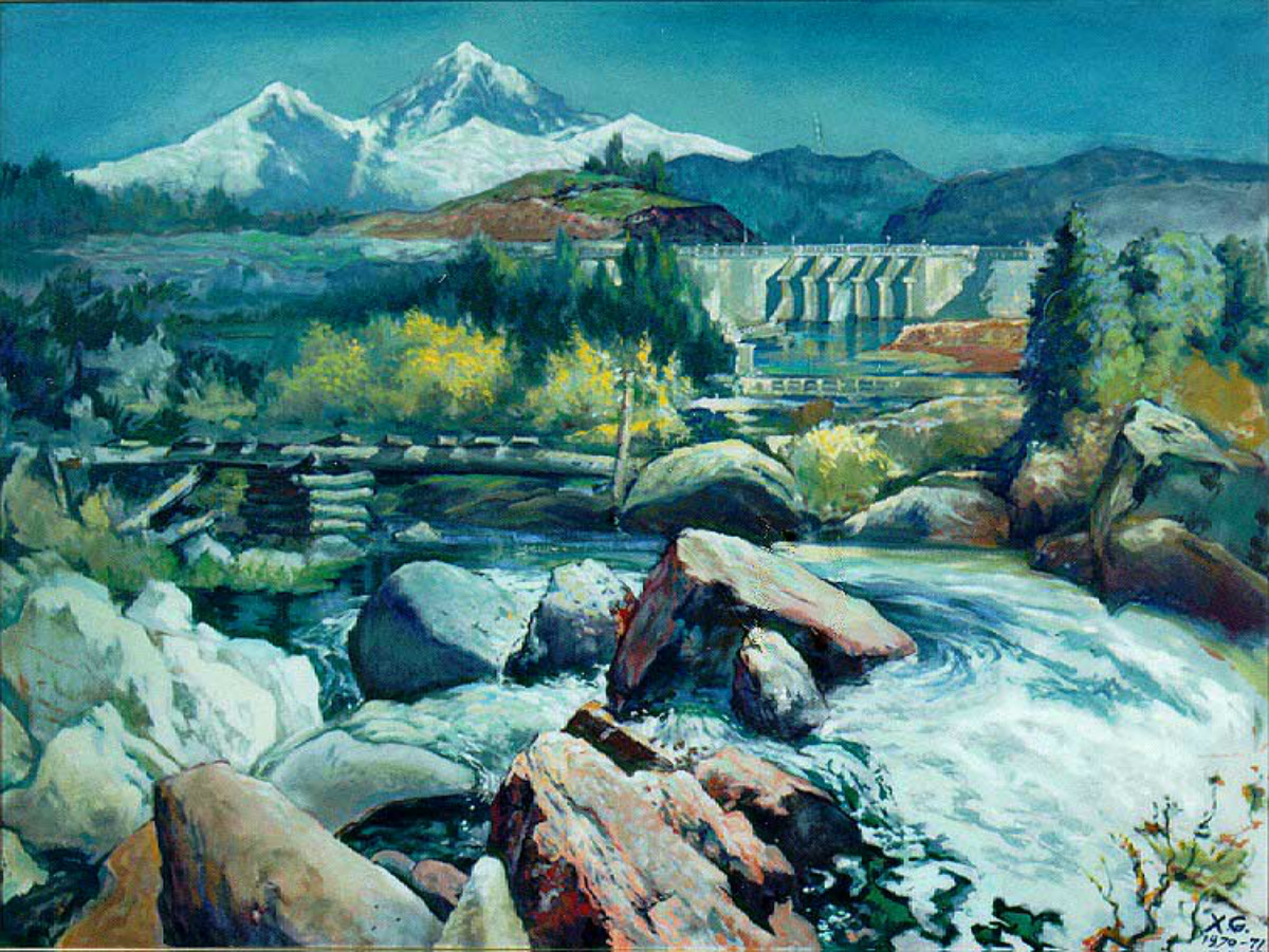 A painting of a river flowing over rocks with a large concrete damn and a mountain in the background.
