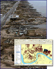 Coastal damage and GIS survey mapCredit: NPS and NARA