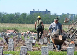 Work being done at the Chalmette National Cemetery. Credit: NPS