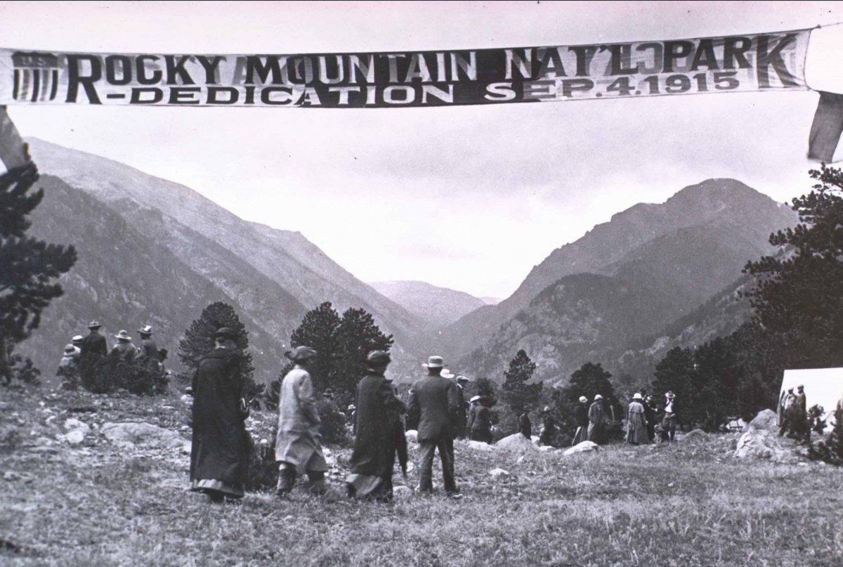 black and white photo of people enjoying the view at Rocky Mountain National Park's dedication