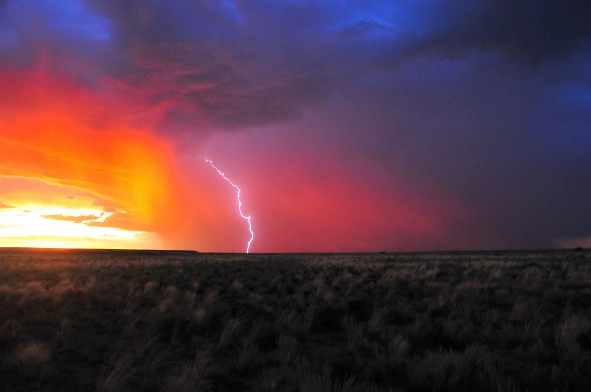 Sky over field is illuminated in blues, reds, pinks, and oranges as storm approaches and a sing lighting bolt rips through the middle of the sky