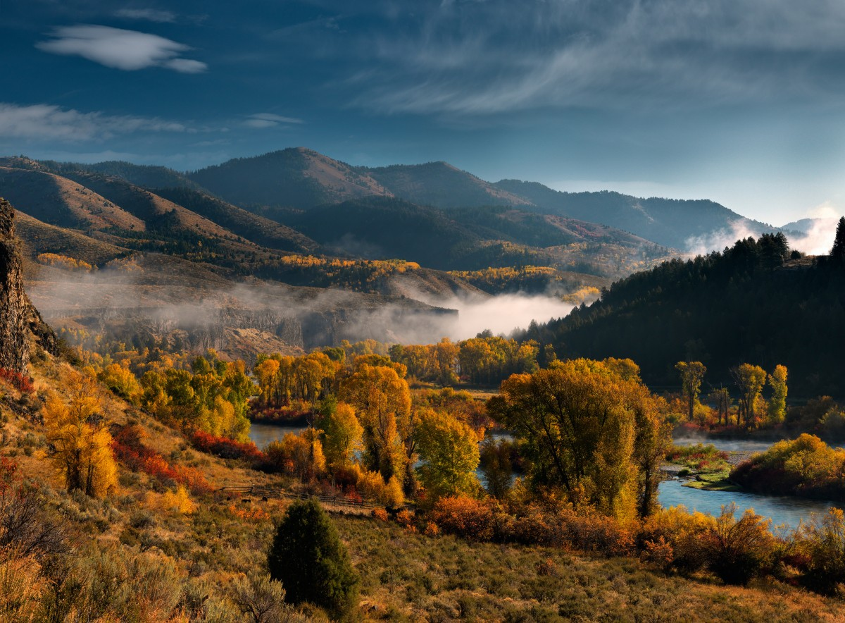 Trees showing bright fall colors grow along a river as it curves between grassy hills on a foggy morning.
