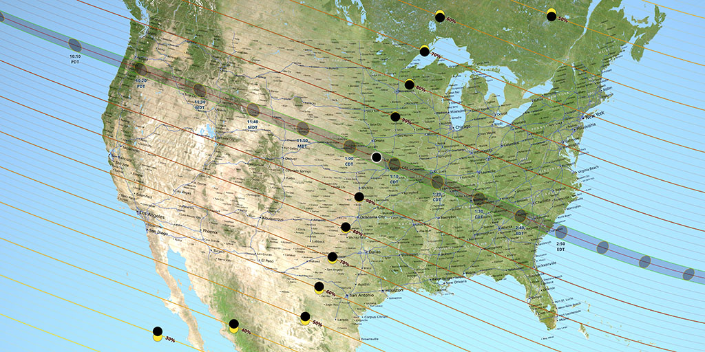 A map of the United States with a gray line running from Washington State to South Carolina showing black dots representing the eclipse's path.