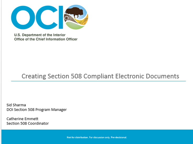 Creating Section 508 Compliant Electronic Documents