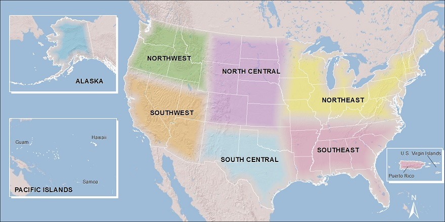 Map of the US divided into 8 CSC regions